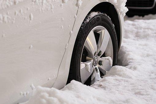 car stuck in winter